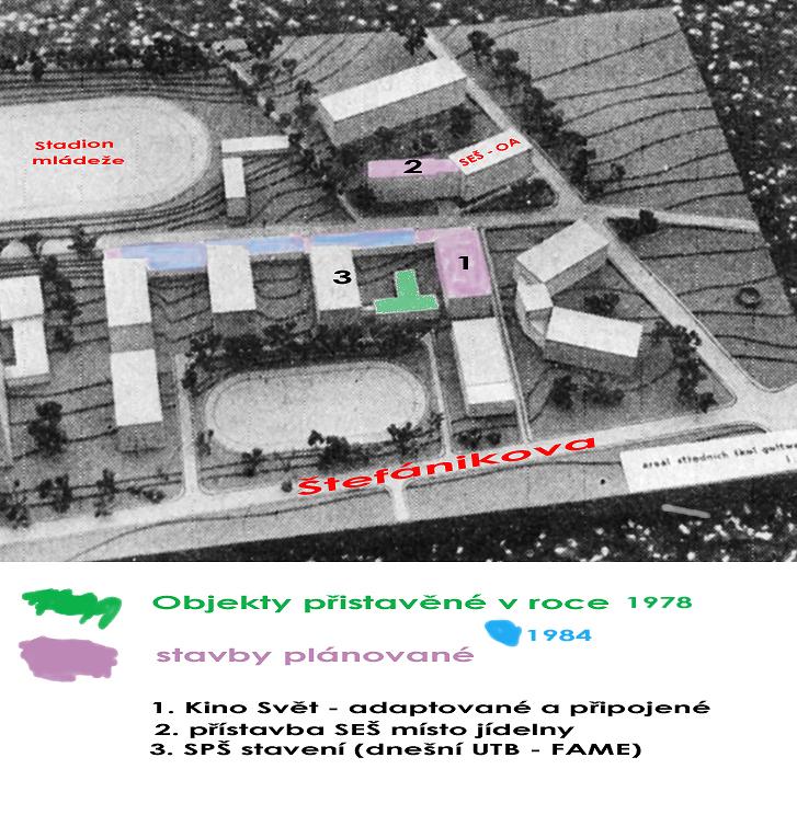 areál středních škol - záměr z roku 1980