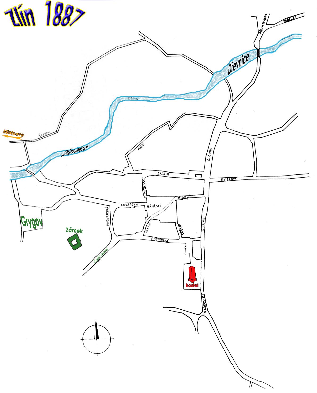 mapa uliční sítě v roce 1887