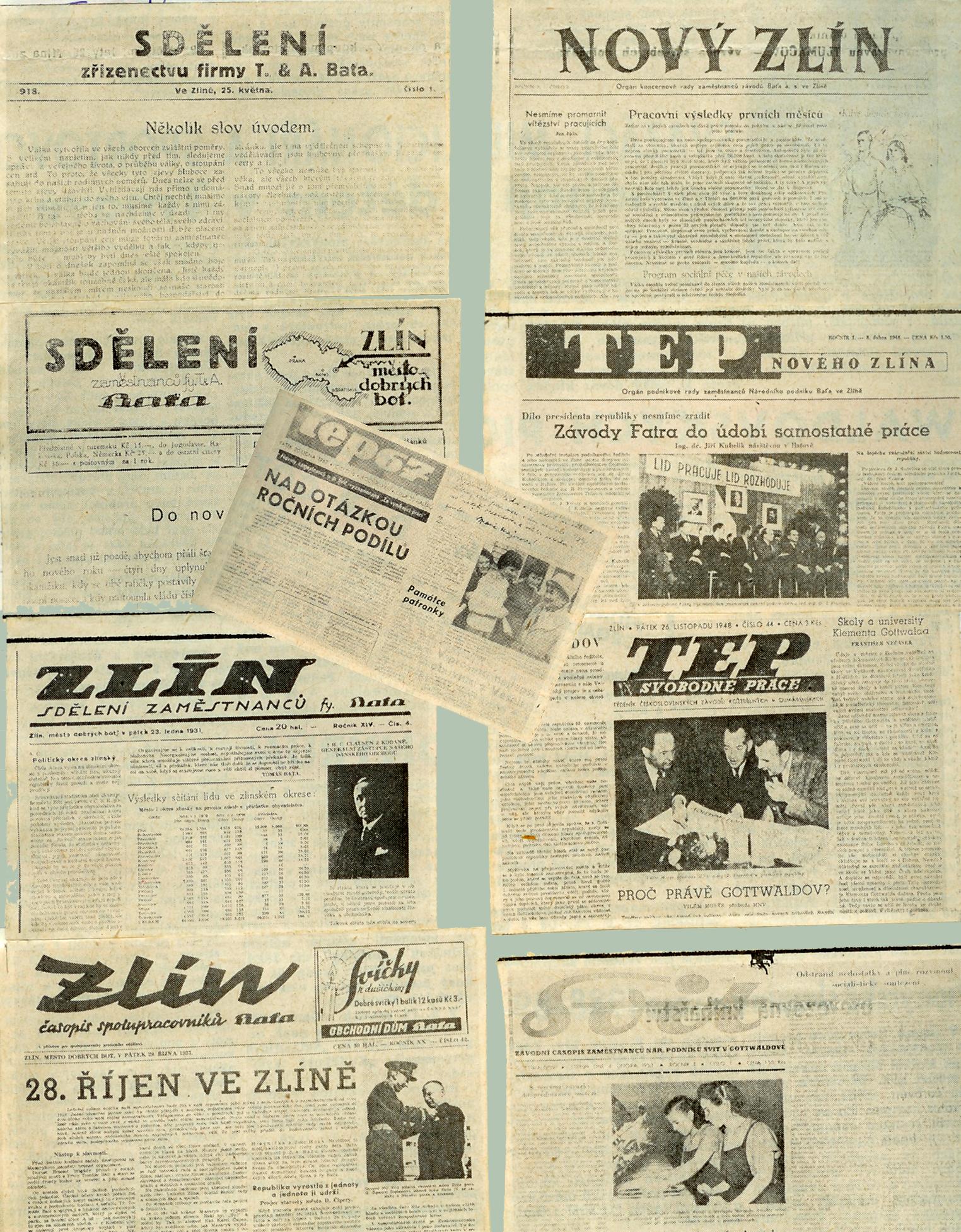 hlavičky firemních novin
