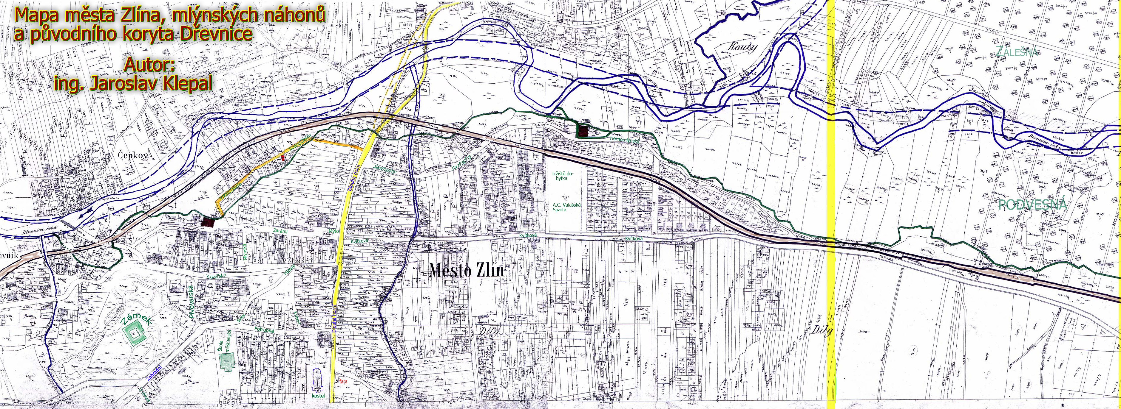 Mapa - Zlín, mlýny a náhony, původní koryto Dřevnice