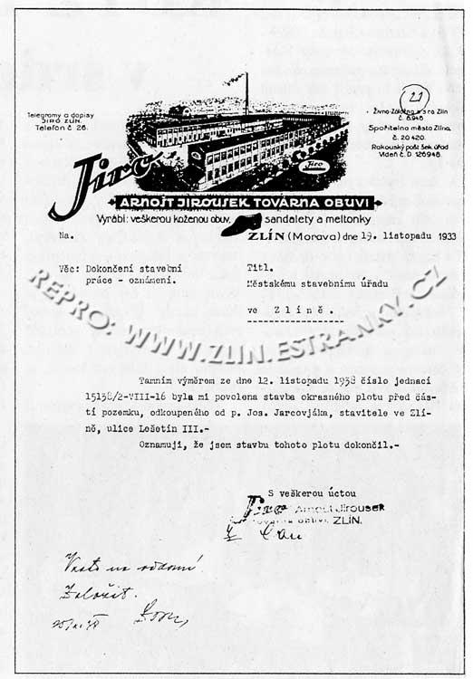 JIRO - Arnošt Jirousek - hlavičkový dopis