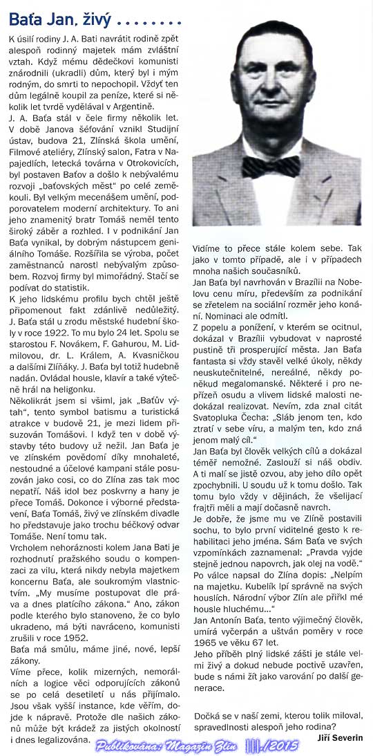 Jiří Severin o Janu Antonínu Baťovi ve světle posledního soudního rozhodnutí
