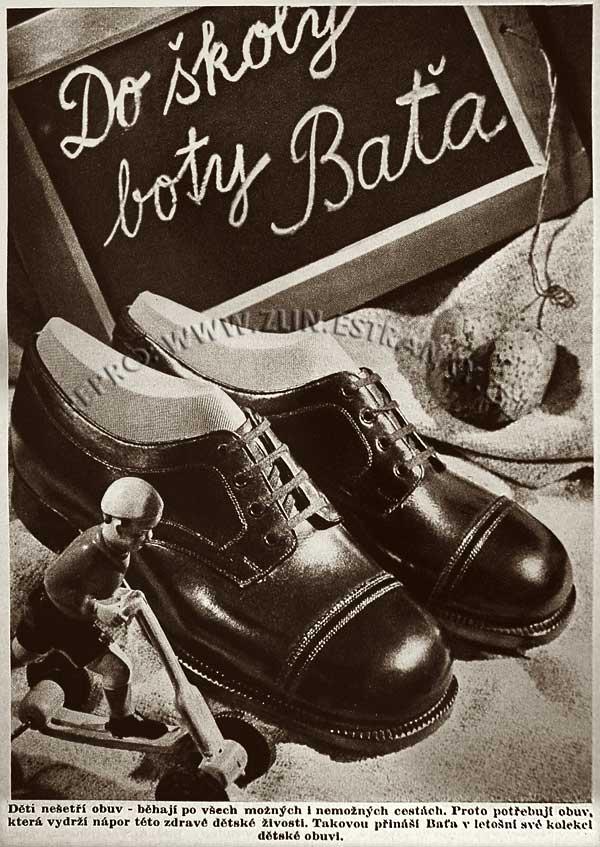 Reklama Baťa - školní obuv (1937) +