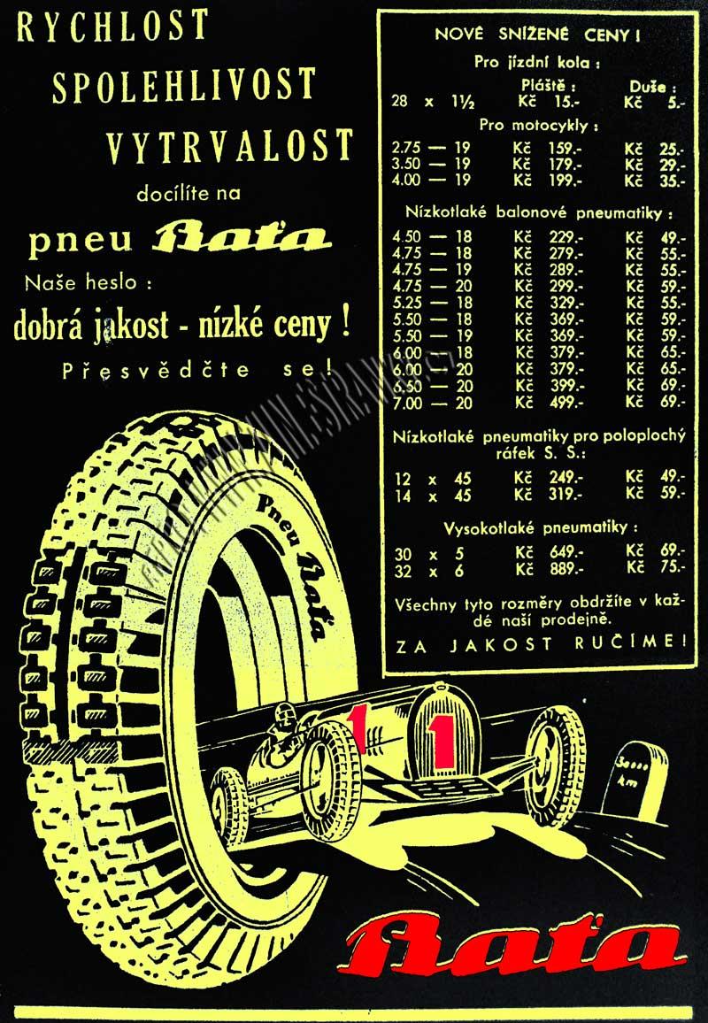 Reklama Baťa - pneu jednička - 1933