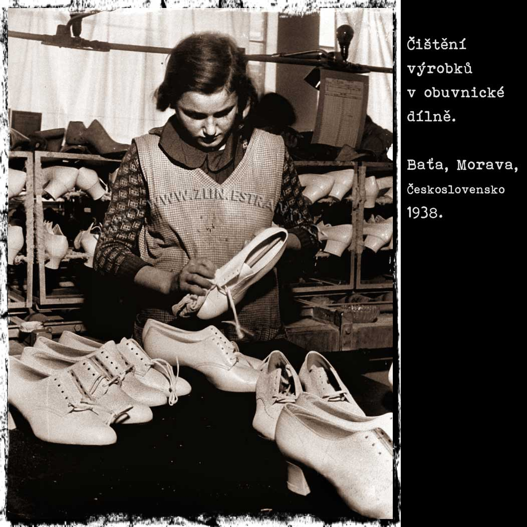 Baťa a.s. - čištění obuvi (1938)