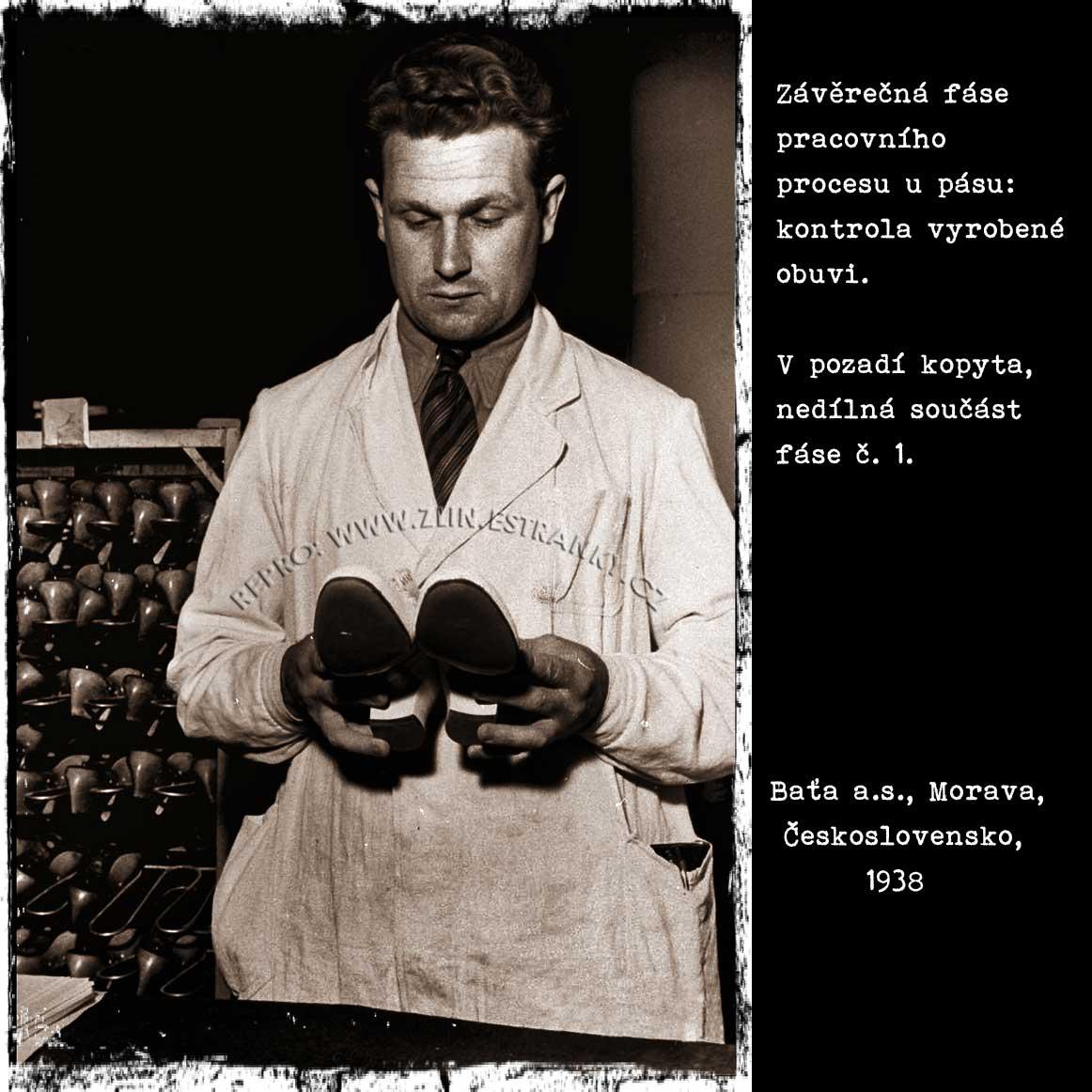 Baťa a.s. - kontrola vyrobené obuvi (1938)