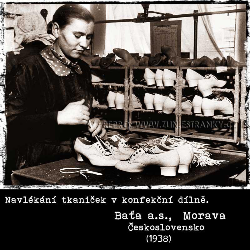 Baťa a.s. - navlékání tkaniček v konfekční dílně (1938)