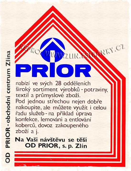 Obchodní dům Prior Zlín - reklama z roku 1991.