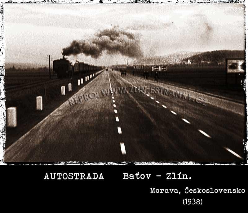 autostrada Baťov - Zlín z jedoucího vozu (1936)