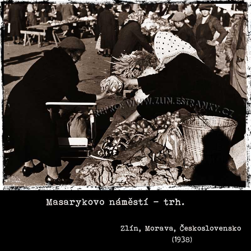 Masarykovo náměstí Zlín - trhy (1938)