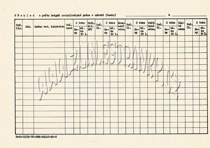 Formulář - Přehled o počtu brigád socialistické práce (Svit, vzor 1976)