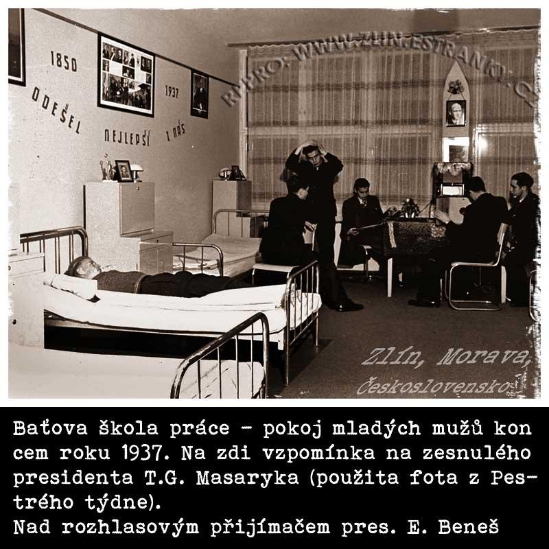 Baťova škola práce - mladí muži na pokoji (1937)