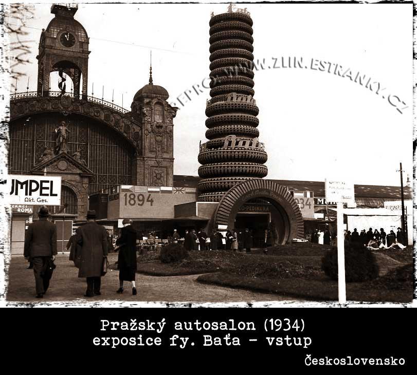autosalon Praha 1934 - vstup do stánku Baťa