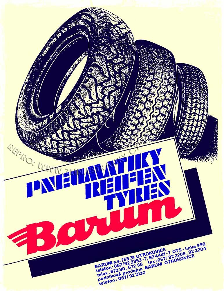 Pneu Barum - reklama fy. z roku 1991