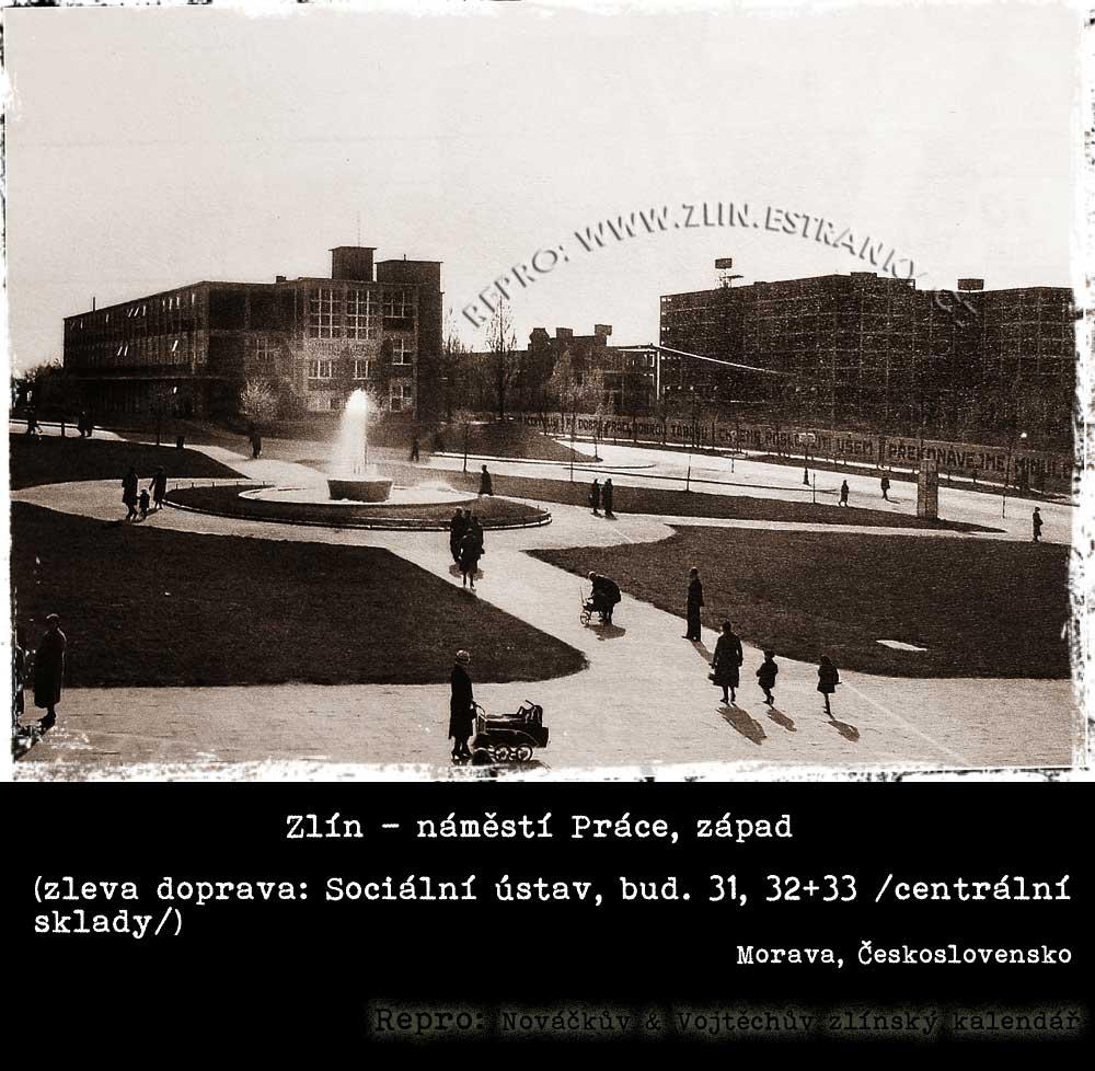 Zlín - náměstí Práce - západní strana (1. internát - Sociálně-zdravotní ústav)