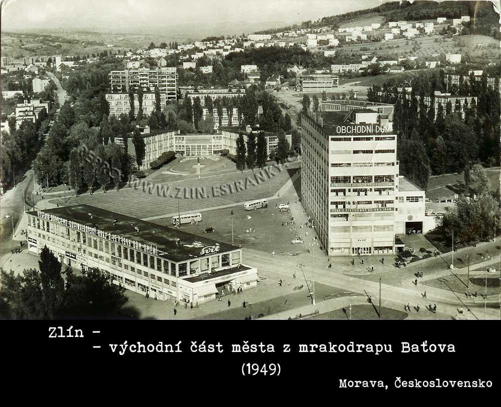 Zlín - východní pohled z mrakodrapu Baťova (1949)