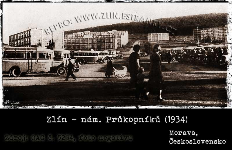 Zlín - náměstí Průkopníků v roce 1934