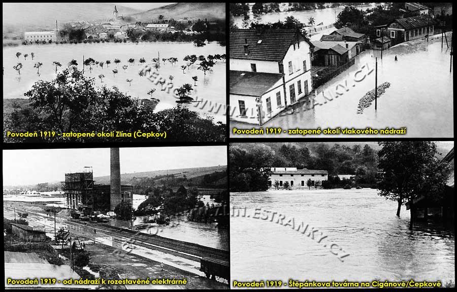 Povodně v městě Zlíně - 1919
