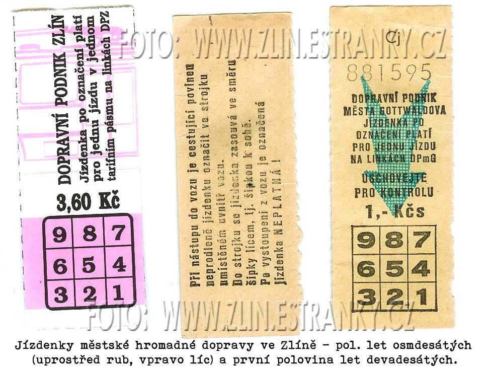 DPMG - lístky na dopravu děrovací (1985-1995)
