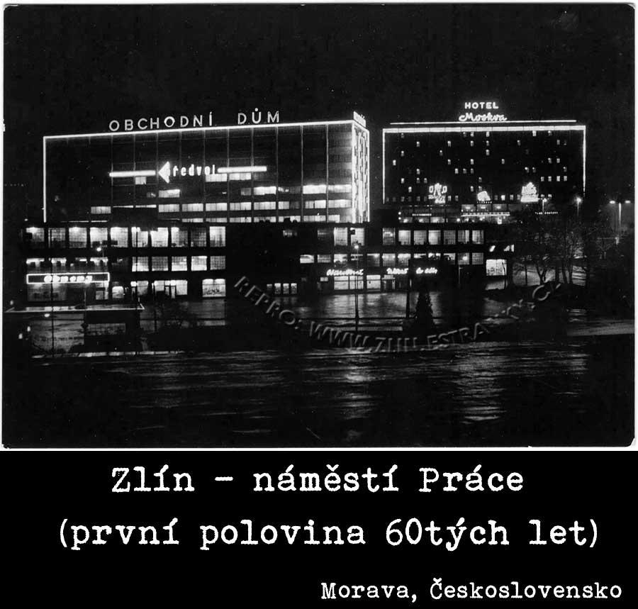 Nám. Práce - OD a hotel Moskva v první polovině šedesátých